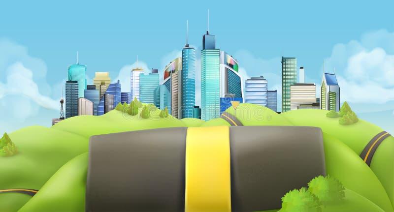 Город и дорога, вектор бесплатная иллюстрация