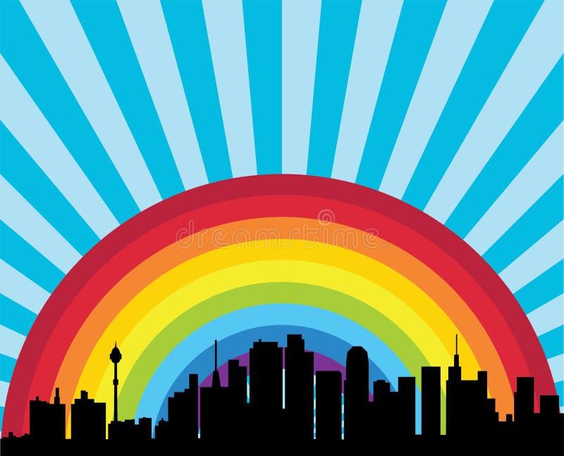 Город и радуга иллюстрация штока