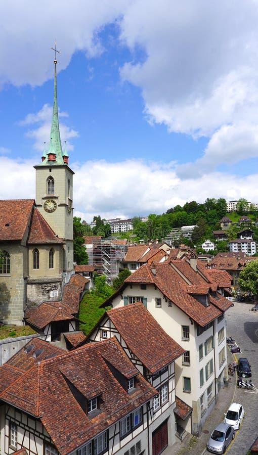 Город и церковь городка точек зрения исторические старые стоковые фото