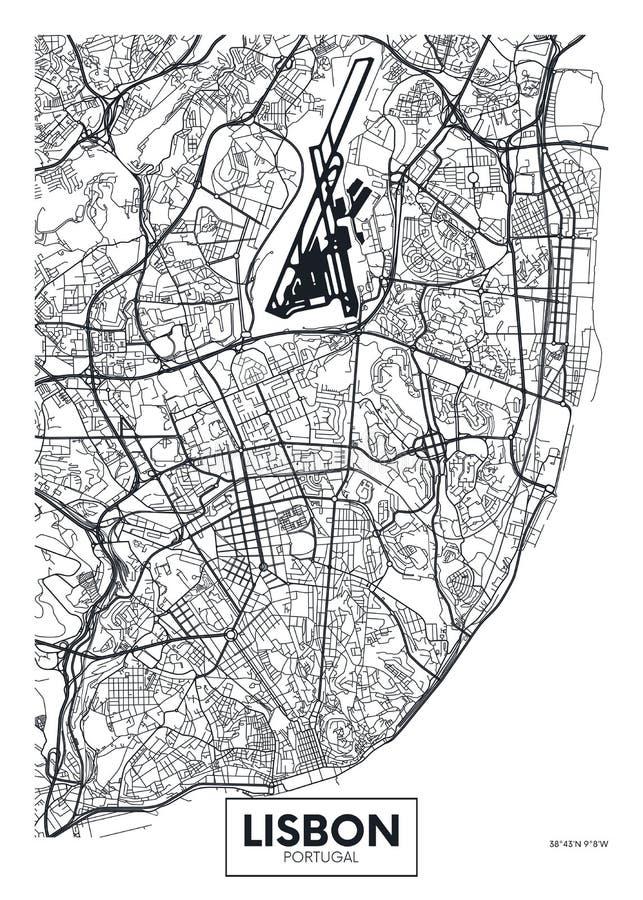 Город Лиссабон карты плаката вектора иллюстрация вектора