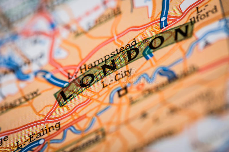 Город Лондона на дорожной карте стоковое изображение