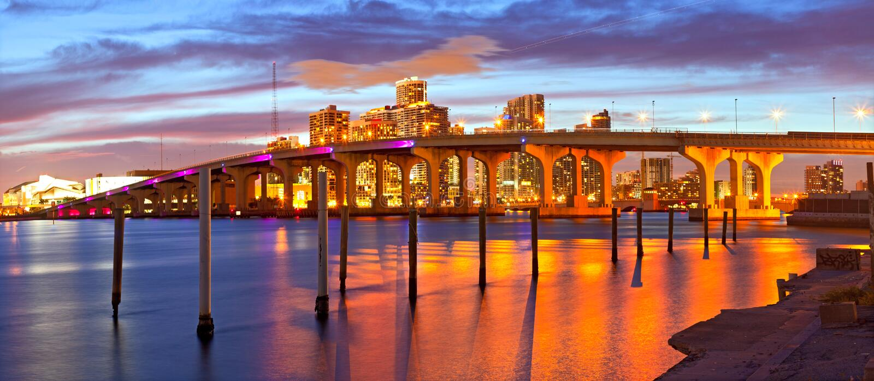 Город Майами Флориды, панорамы захода солнца лета стоковое фото rf