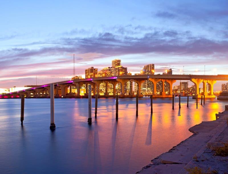 Город Майами Флориды, панорамы захода солнца лета стоковые изображения