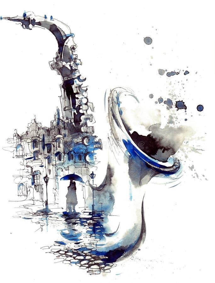 Город мелодии иллюстрация штока