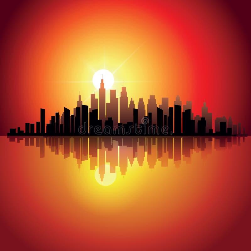Город на заходе солнца бесплатная иллюстрация