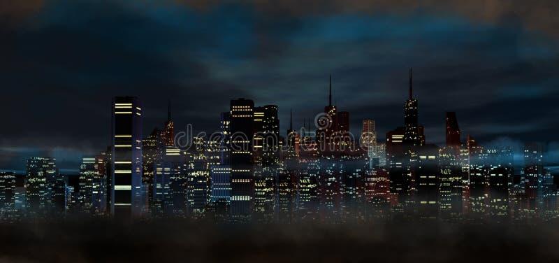 Город на ноче иллюстрация вектора