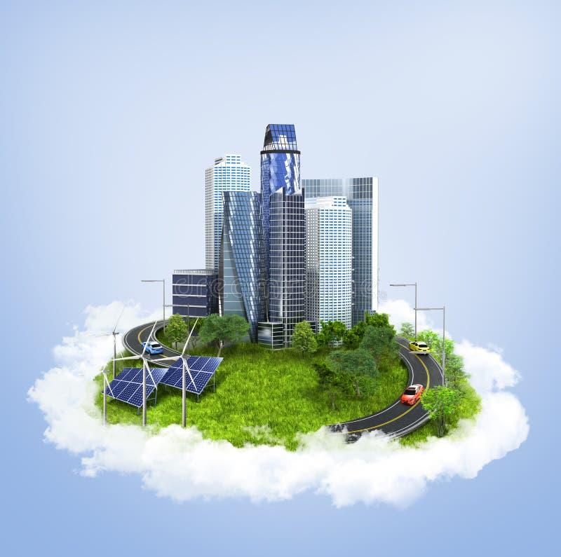 Город на острове плавая в облака экологичность бесплатная иллюстрация