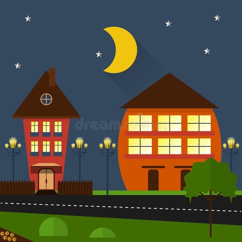 Город ночи вектора дизайна домов плоский иллюстрация штока