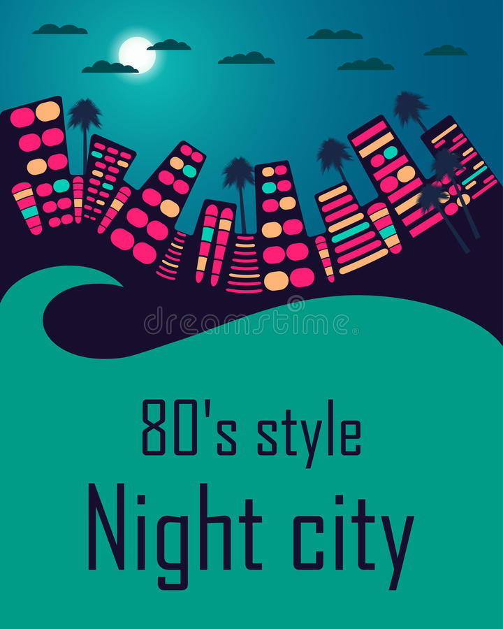 Город ночи в стиле 80's река ландшафта kremlin города отраженное ночой Космос для текста бесплатная иллюстрация