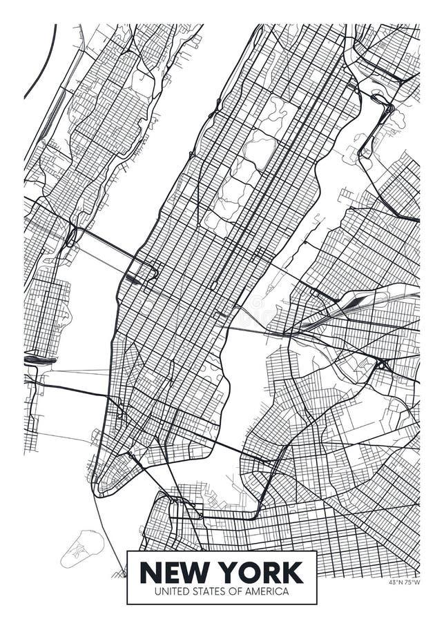 Город Нью-Йорк карты плаката вектора бесплатная иллюстрация