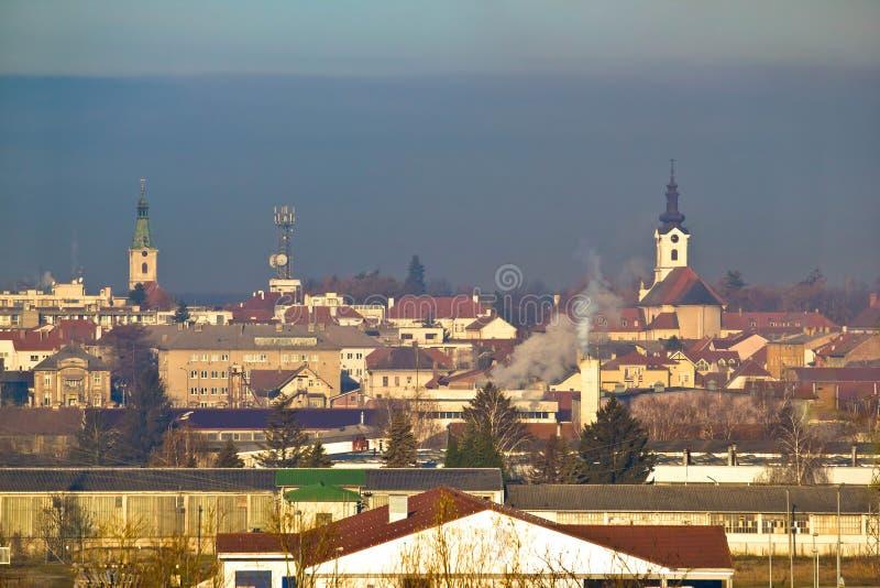Городок горизонта зимы Bjelovar стоковое фото