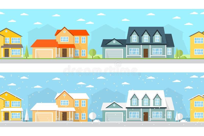 Городок лета и зимы иллюстрация вектора