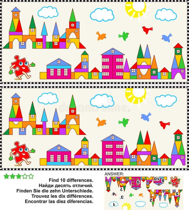 Городок игрушки находит головоломка изображения разниц бесплатная иллюстрация