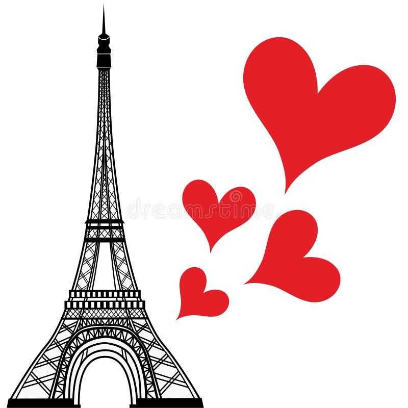 Городок Парижа в сердце влюбленности Франции, иллюстрации дня валентинок вектора Эйфелевой башни иллюстрация штока