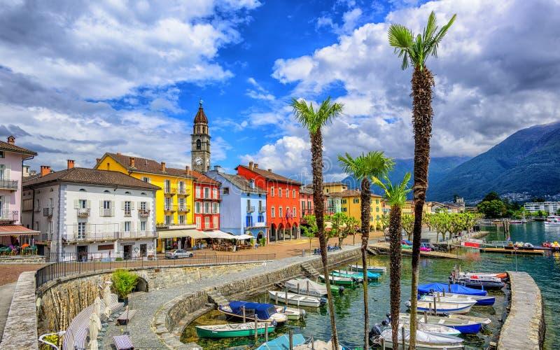 Городок Ascona старый на Lago Maggiore, Швейцарии стоковые изображения