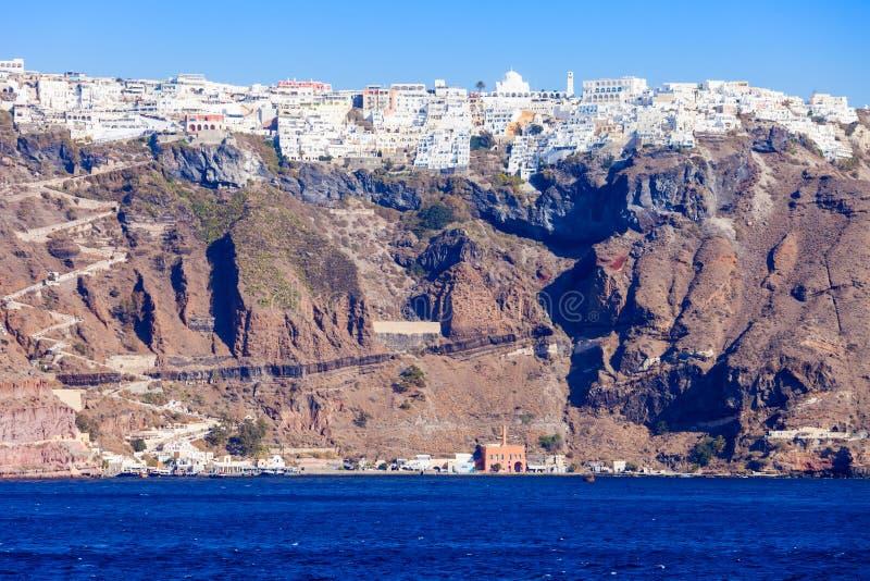 Городок Fira, остров Santorini стоковая фотография rf