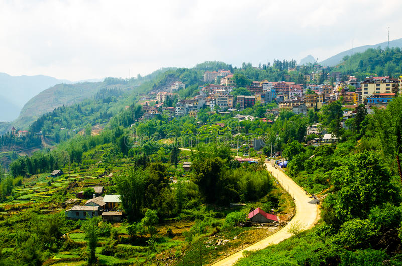 Городок Sapa на Lao Cai Вьетнаме стоковое фото rf