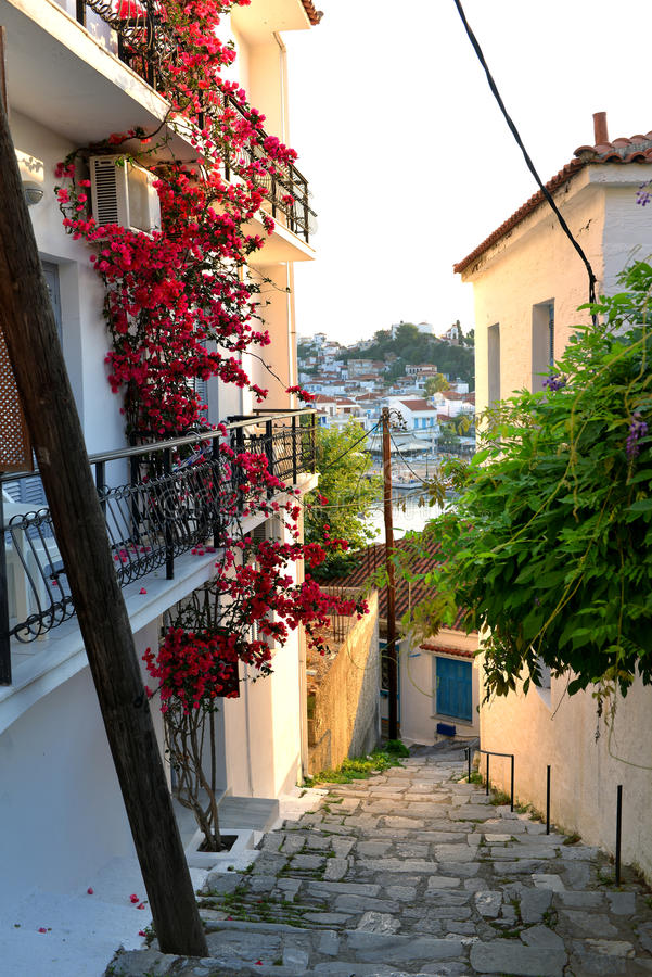 Городок Skyathos стоковые изображения