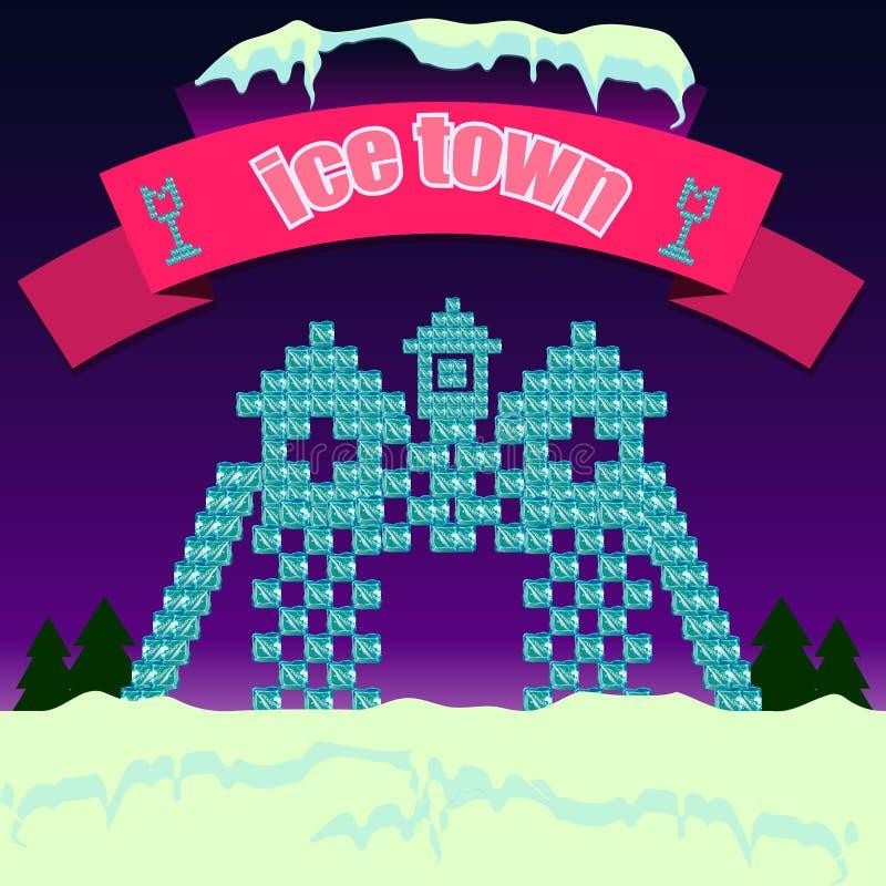 Городок Snowy иллюстрация вектора