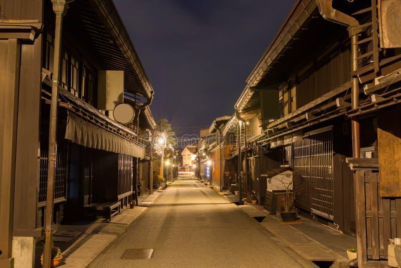 Городок Takayama в ноче на gifu Японии стоковое фото