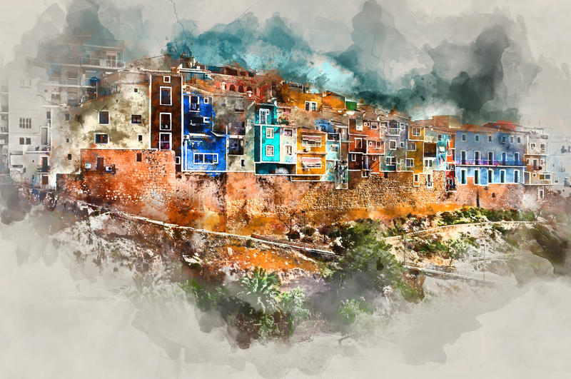 Городок Villajoyosa иллюстрация вектора