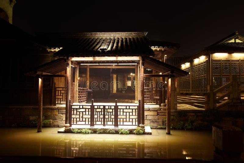 Городок Wuzhen на ноче стоковые изображения rf