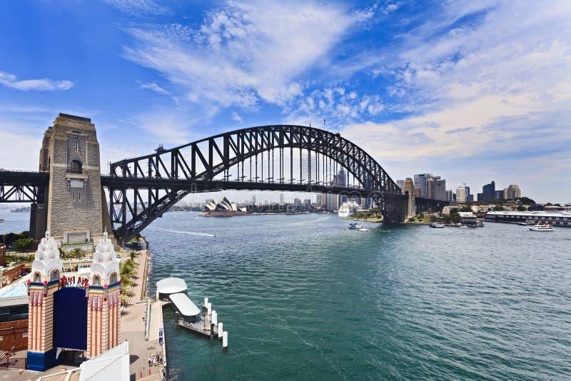 Город парома Сиднея луны вверх стоковая фотография rf