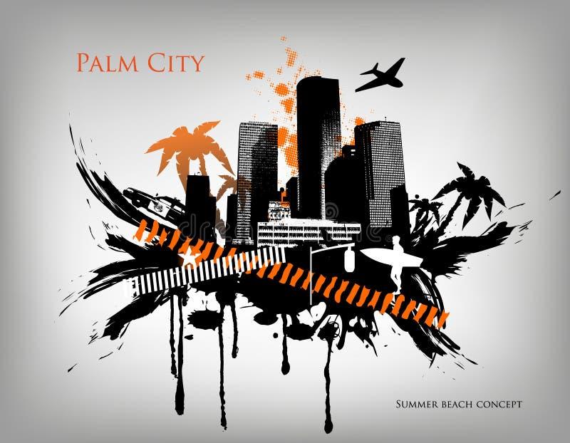 Город партии концепции пляжа лета городской иллюстрация вектора