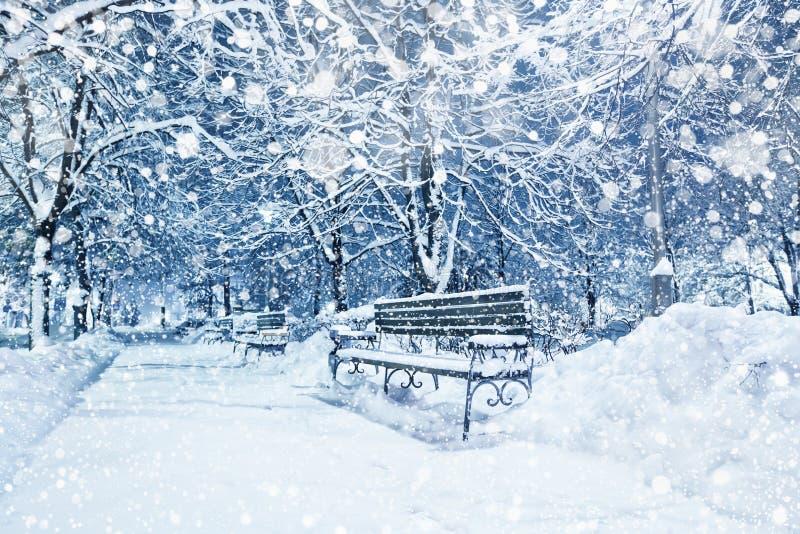 город покрыл снежок стоковая фотография rf