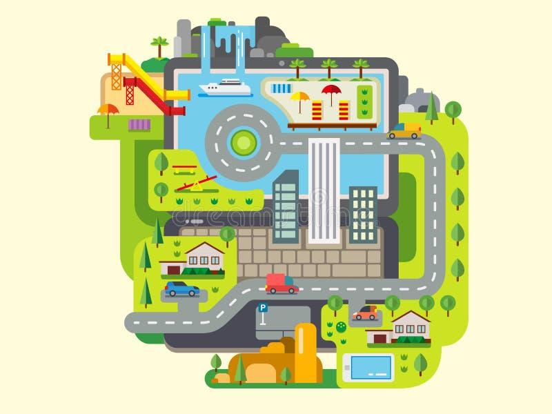 Город построенный вокруг компьтер-книжки бесплатная иллюстрация