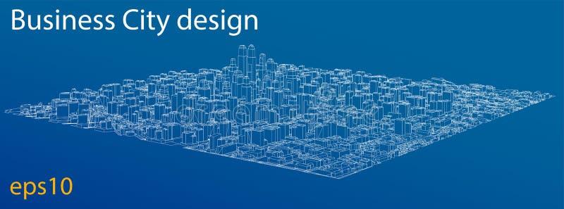 город Провод-рамки, стиль светокопии вектор бесплатная иллюстрация
