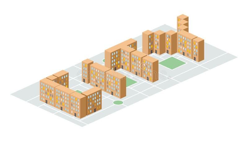 Город Равновеликое здание в форме писем Liv людей двора бесплатная иллюстрация