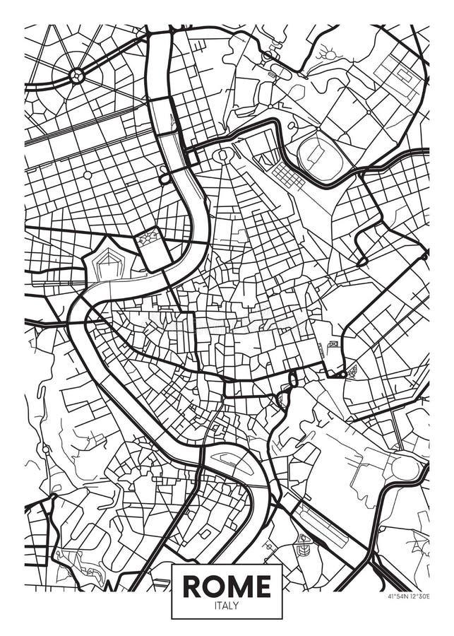 Город Рим карты плаката вектора иллюстрация вектора