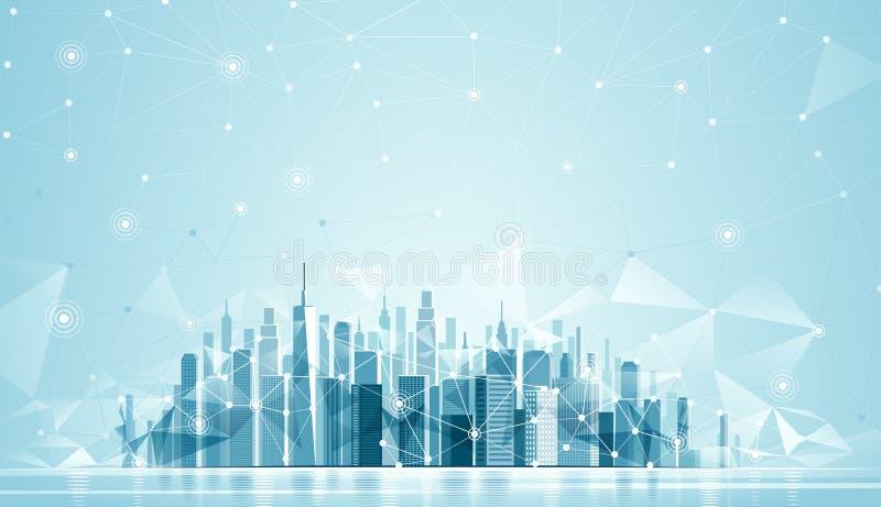 Городская глобальная вычислительная сеть ландшафта бесплатная иллюстрация
