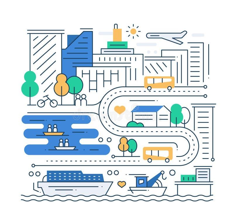 Городская жизнь - линия состав дизайна
