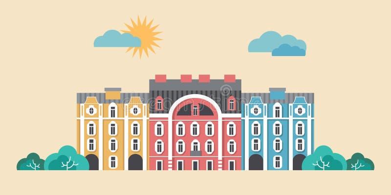Городская иллюстрация вектора ландшафта Городок лета, концепция улицы города Плоский дизайн зданий иллюстрация штока