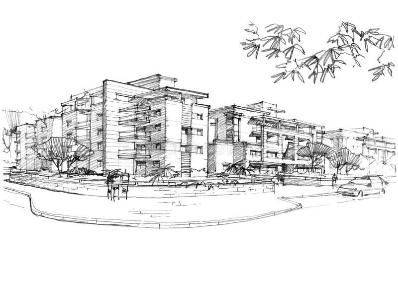 Городская местность в жилом районе иллюстрация вектора
