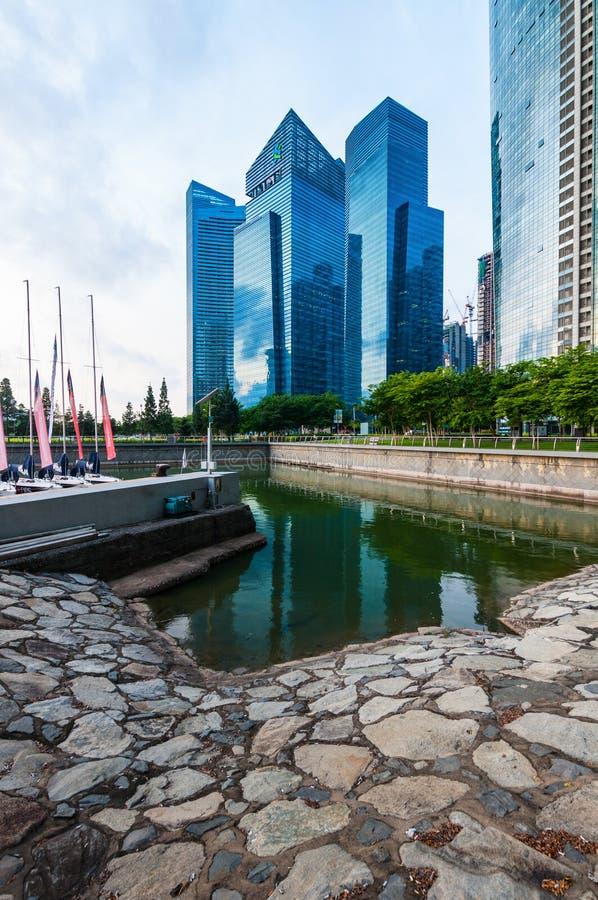 Городской ландшафт Сингапура, горизонта и современных небоскребов стоковая фотография