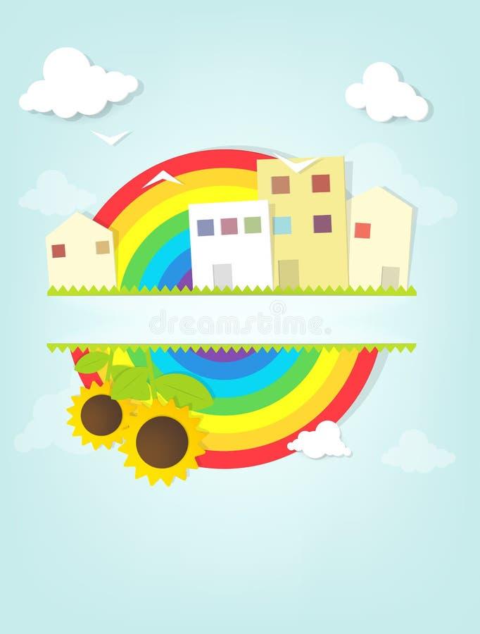 Городской ландшафт с радугой иллюстрация штока