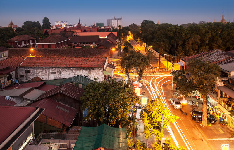 Городской горизонт города, Пномпень, Камбоджа, Азия. стоковое фото rf