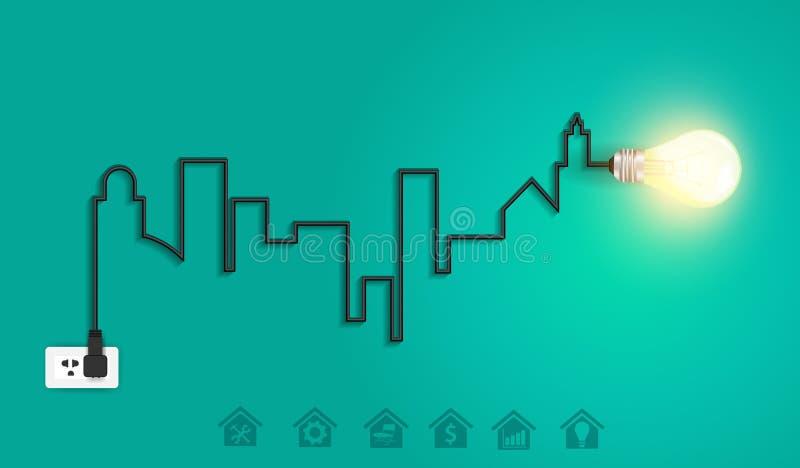 Городской пейзаж вектора с творческой электрической лампочкой ide провода иллюстрация вектора