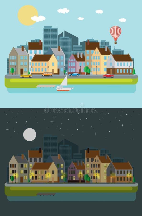 Городской пейзаж, все время бесплатная иллюстрация