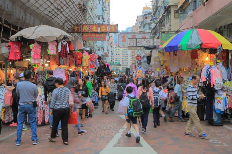 Городской пейзаж Гонконга уличного рынка стоковое фото