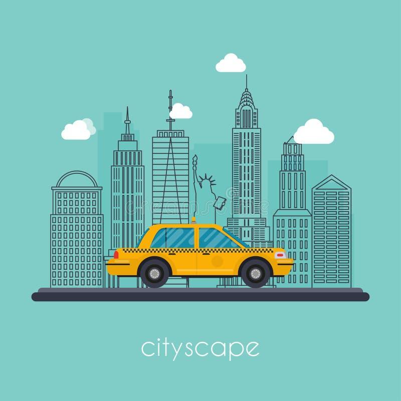 Городской пейзаж иллюстрации вектора плоский с городскими домами Урбанско иллюстрация штока