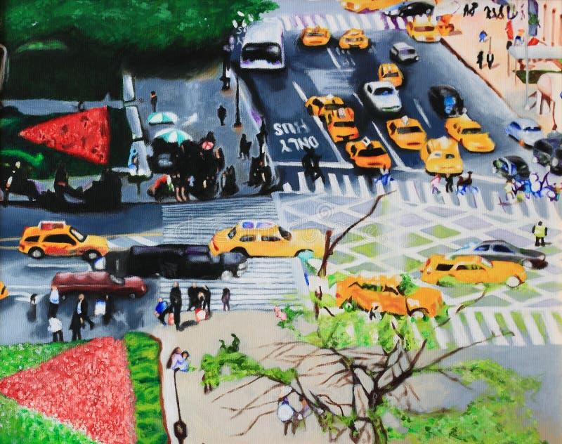 Городской пейзаж картины маслом стоковая фотография