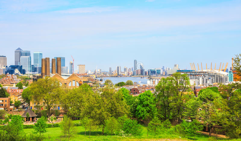 Городской пейзаж Лондона от Гринвича стоковое фото