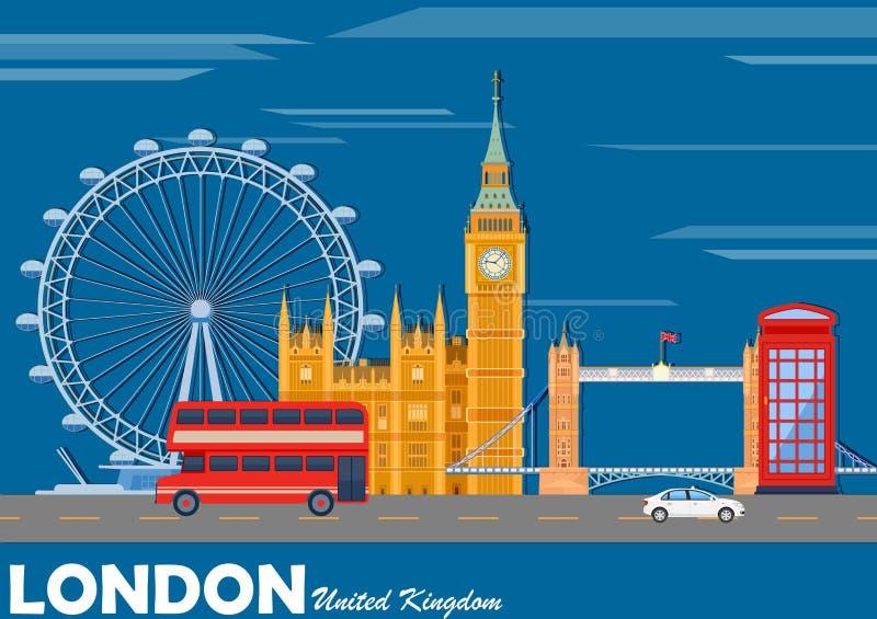 Городской пейзаж Лондона с известным памятником иллюстрация штока