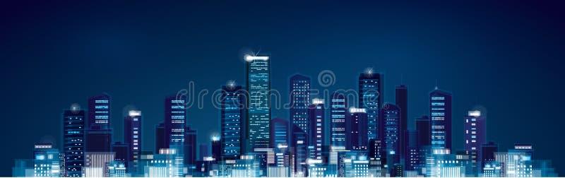 Городской пейзаж ночи вектора иллюстрация штока