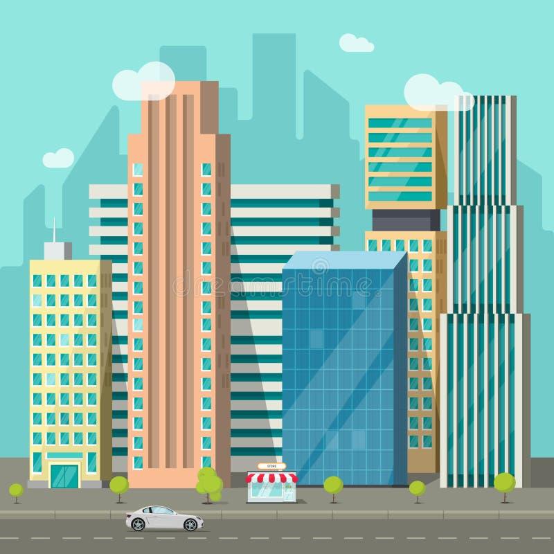 Городской пейзаж, дорога зданий города, большой городок небоскребов, городской ландшафт улицы иллюстрация штока