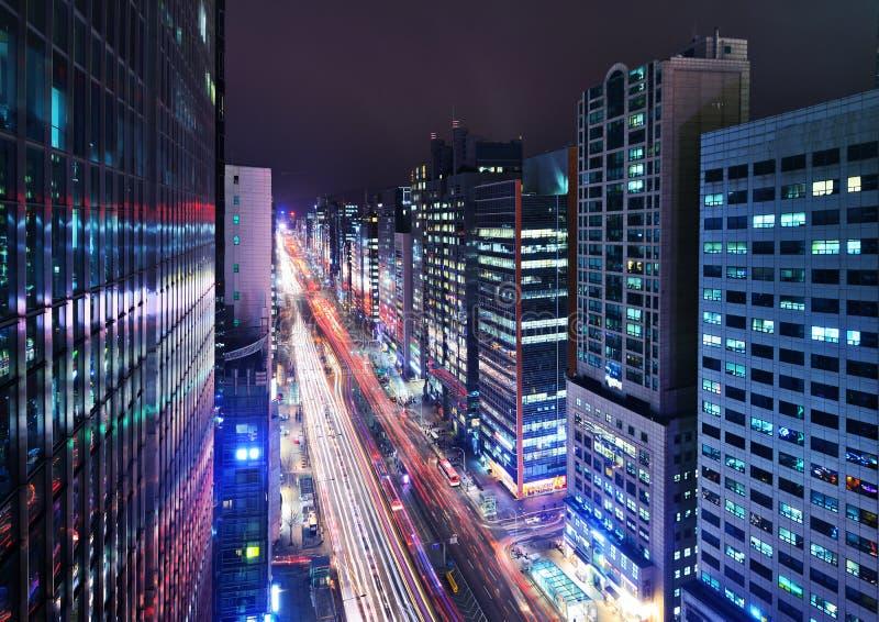 Городской пейзаж района Сеула Gangnam стоковое изображение